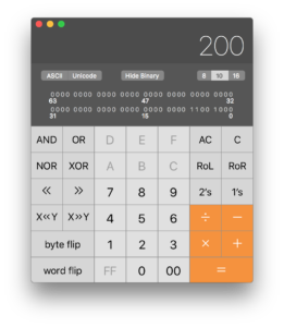 Apple calculator in engineering mode (press command-3 to enter this mode). In this mode, you can view numeric results in decimal, hexadecimal, or octal modes, you can see the binary values of each number, and you can perform bitwise operations like AND and OR on numbers.
