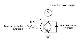 DC Motor Control with a TIP120 Transistor | code, circuits